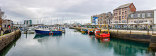 Boats Moored At The Barbican In Plymouth, Devon