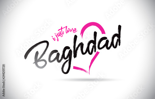 Fotografija  Baghdad I Just Love Word Text with Handwritten Font and Pink Heart Shape