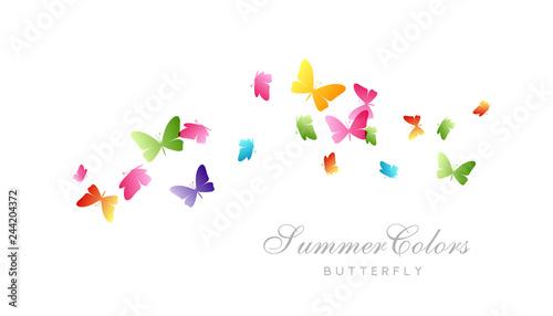 Fotografía  Flying butterflies. Vector decoration element.
