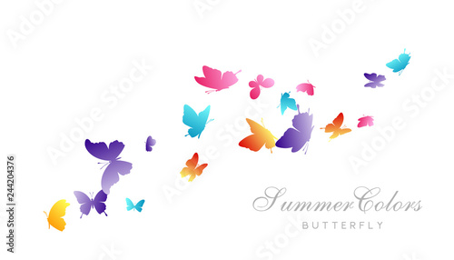 Fototapeta  Flying butterflies. Vector decoration element.