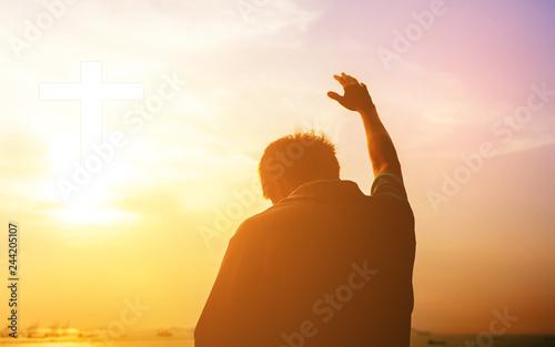 Fotografia Human hands open palm up worship