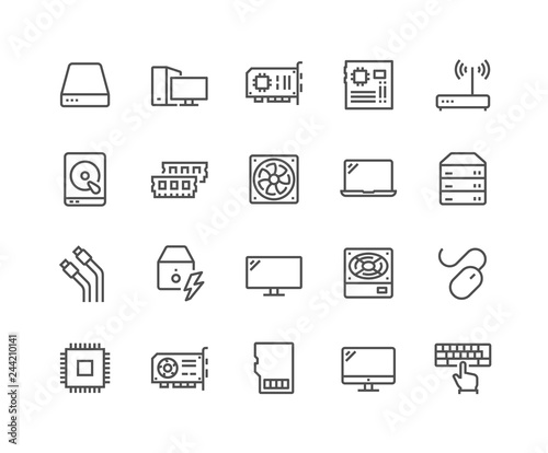 Obraz Simple Set of Computer Components Related Vector Line Icons. Contains such Icons as CPU, RAM, Power Adapter, Cables and more. Editable Stroke. 48x48 Pixel Perfect. - fototapety do salonu