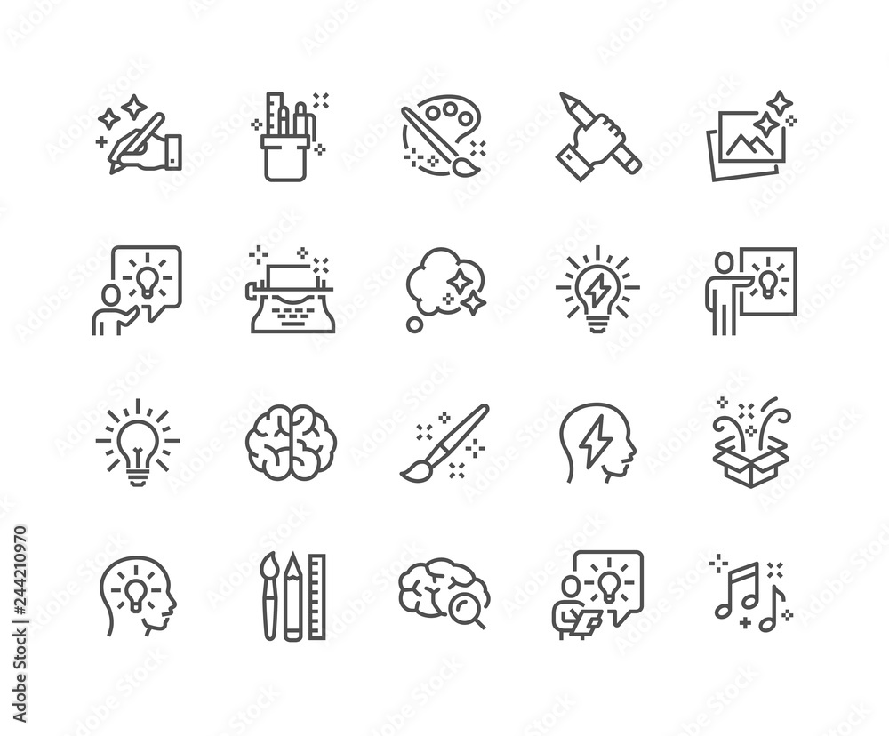 Fototapety, obrazy: Simple Set of Creativity Related Vector Line Icons. Contains such Icons as Inspiration, Idea, Brain and more. Editable Stroke. 48x48 Pixel Perfect.