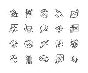 Prosty zestaw ikon linii związanych z kreatywnością wektor. Zawiera takie ikony jak inspiracja, pomysł, mózg i inne. Skok edytowalny. 48 x 48 pikseli.