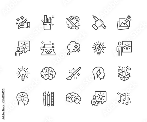Simple Set of Creativity Related Vector Line Icons. Contains such Icons as Inspiration, Idea, Brain and more. Editable Stroke. 48x48 Pixel Perfect. Fototapete