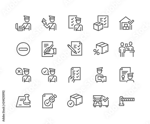 Fotografía  Simple Set of Customs Related Vector Line Icons