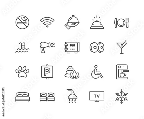 Simple Set of Hotel Related Vector Line Icons Tapéta, Fotótapéta
