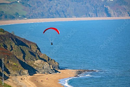 Paraglider above Beesands Beach