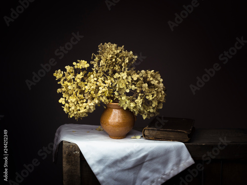 Fototapeta Dramatic chiaroscuro style photo of dried hydrangea flowers with old book on dark background. Melancholy still life with copy space. obraz