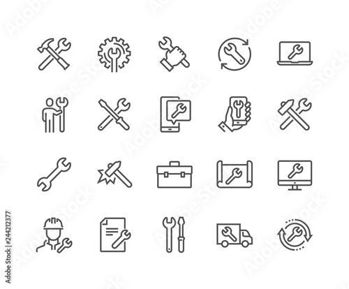 Fotografía  Simple Set of Repair Related Vector Line Icons