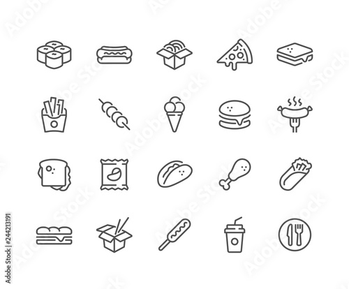 Fototapeta Simple Set of Fast Food Related Vector Line Icons. Contains such Icons as Pizza, Tacos, Chips and more. Editable Stroke. 48x48 Pixel Perfect. obraz