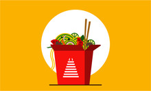 Chinese Take Away Fast Food Noodle In Oriental Box Container. Vector Illustration