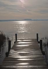 Panel Szklany Podświetlane Molo Sonnenuntergang am östlichen Steinhuder Meer