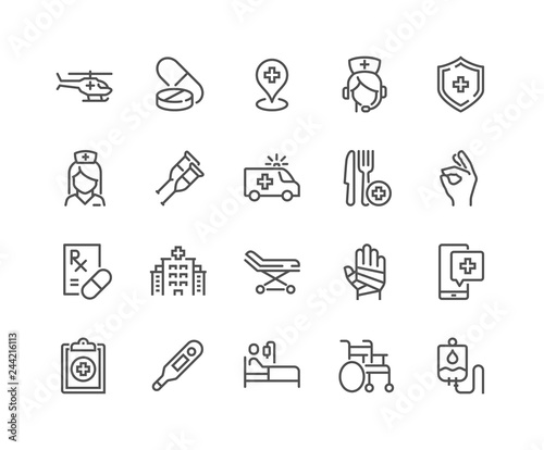 Fotografie, Obraz  Simple Set of Medical Assistance Related Vector Line Icons