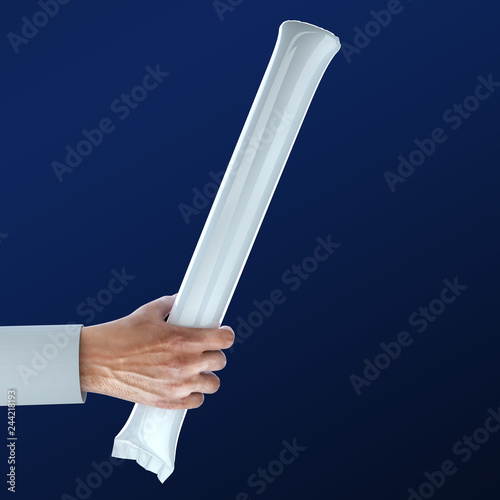 Photo  Hand holding Stadium Noisemakers Crowd loud Inflatable Thunder Stick Bang Cheer