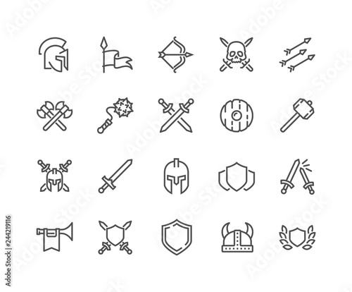 Simple Set of Archaic War Related Vector Line Icons Tableau sur Toile