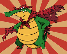 Super Villain Alligator Stands Up And Poses With Tattered Wings And Mask Cartoon Vector