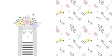 Colourful Graphic Set With Illustration Of Cartoon Girl Portrait In Floral Garland And Small Scaled Flower Seamless Pattern. Decorative Summer Vector Graphics For Fabric, T-shirt Print, Cardmaking