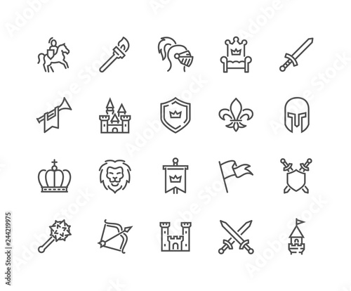Simple Set of Medieval Related Vector Line Icons Poster Mural XXL