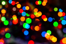 Close-up Of The Magical Shine Of The Christmas Lights Of The Reflections From The Garlands. Fairy Dream