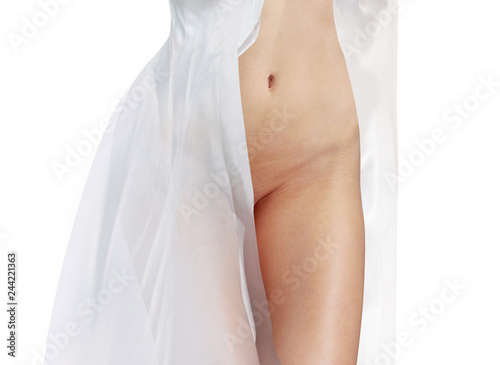 Stickers pour porte Akt body in white dress isolated