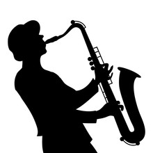 Saxophone Player Silhouette On...