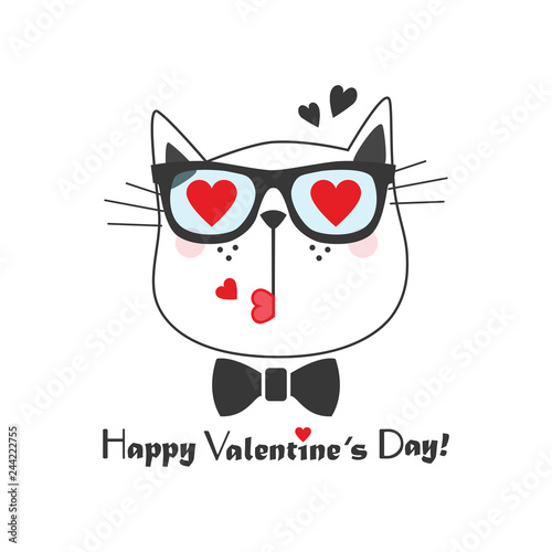 abec047439c9 Black line cute kissing cat face icon with heart sunglasses and bow tie and  Happy Valentines Day message on white background
