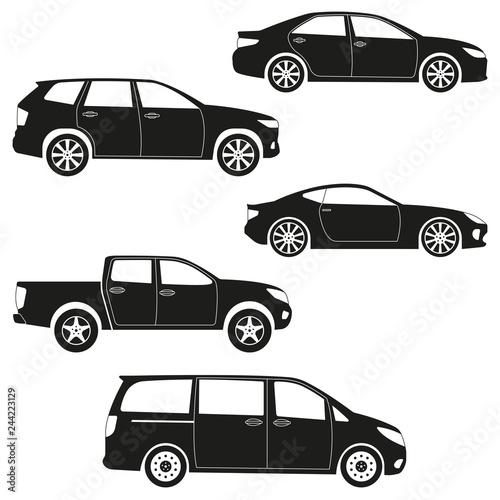 Cars Icon Set Sedan Suv Van Pickup Coupe Sport Car Side View