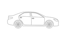 Car Or Vehicle Outline Icon. S...