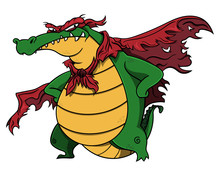 Super Villain Aligator Stands Up And Poses With Tattered Wings And Mask Cartoon Vector