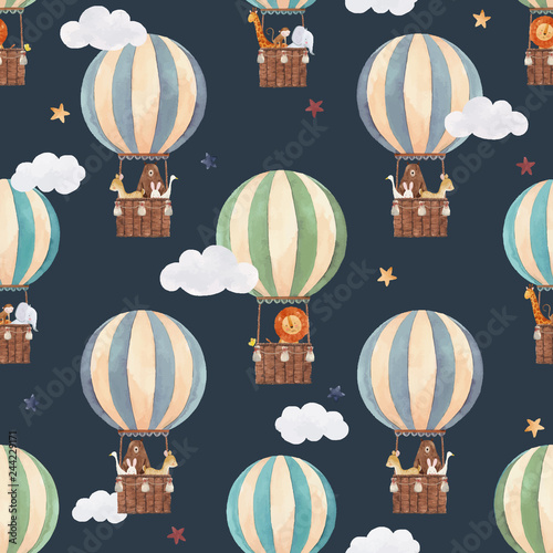 Fotografía Watercolor air baloon vector pattern