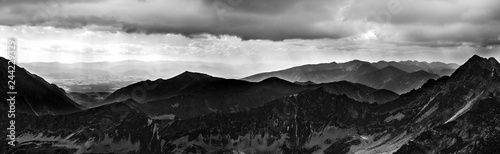 Foto auf Gartenposter Grau Verkehrs Panoramic black and white landscape in tatra mountains in Tatra National Park in Polnad