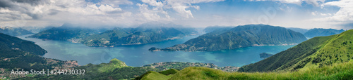 Fotografie, Obraz Panoramic view of Lake Como as seen from  Monte Crocione summit,