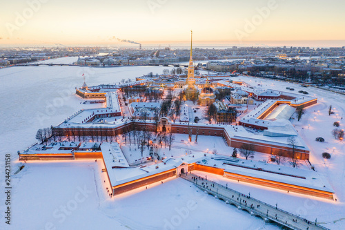 Leinwand Poster Evening winter aerial view, Peter and Paul Fortress, Neva river, Saint Petersbur