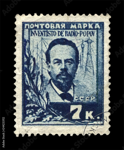 Popov Alexandr (1859-1905), famous russian radio pioneer, wireless transmission innovator, circa 1925 Canvas Print