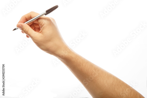 Fotografie, Obraz  Male hand with pen isoleited on white background. Alpha.