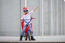 A Funny, Little Superhero. Concept Boy Imagination. Happy Childhood.