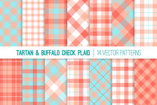 Coral, Pink And Aqua Blue Tartan And Gingham Check Plaid Vector Patterns. 2019 Color Of The Year. Hipster Lumberjack Flannel Shirt Fabric Textures. Pattern Tile Swatches Included.