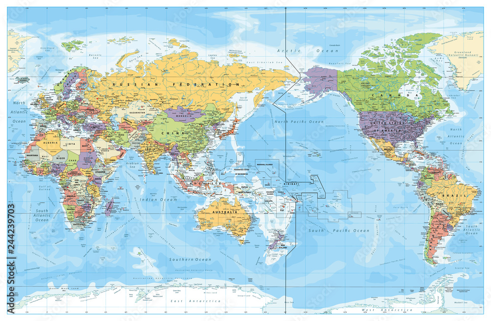 Fototapety, obrazy: Pacific Centred World Political Map. Countries and capitals, cities, borders and water objects, state outline. Detailed World Map vector illustration.