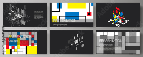 Fotografie, Obraz  The minimalistic abstract vector editable layout of the presentation slides design business templates