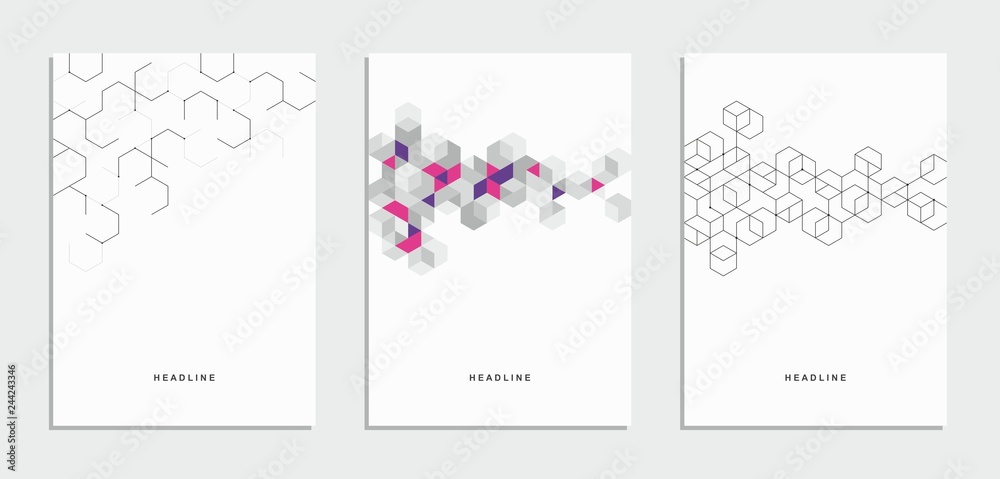 Fototapeta Abstract geometric technological flyer, brochure, corporate identity.