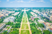 Aerial View Of Washington DC Skyline With The United State Capitol, National Mall And Smithsonian Museums From The Washington Monument.