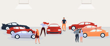 People Choosing And Buying Car Flat Vector Concept