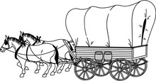 Covered Wagon Vector Illustration