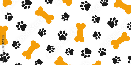 Fototapeta Black trace of dog paw pattern with paw footprints and bones, dog bone backgroun