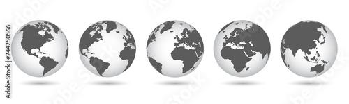 Ustaw globusy 3D z mapami świata - wektor