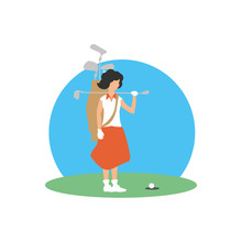 Golfer Woman With Field And St...