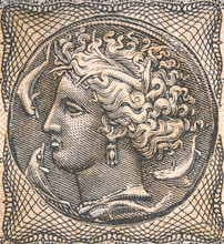 Arethusa Nymph On Old Greece Drachma (1944) Banknote, Vintage Retro Engraving. Ancient Greek Syracuse Coin.