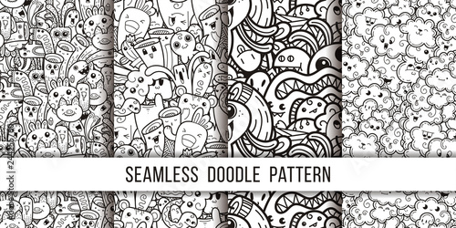 Collection of funny doodle monsters seamless pattern for prints, designs and coloring books - 244255760