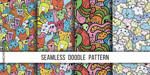 Collection of funny doodle monsters seamless pattern for prints, designs and coloring books - 244255769